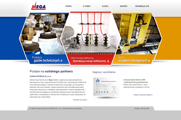 Strona internetowa MEGA