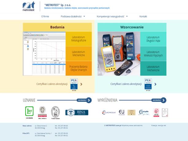 Strona internetowa Metrotest