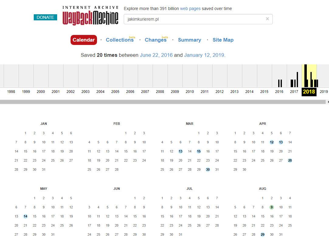 Wayback machine - historia kopii zapasowych strony internetowej