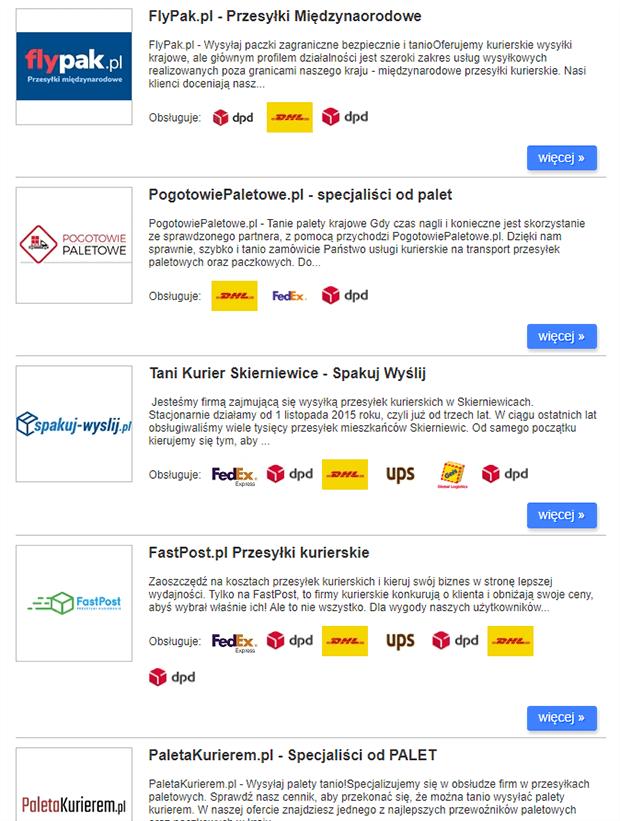 Lista brokerów kurierskich na ZnajdzKuriera.pl