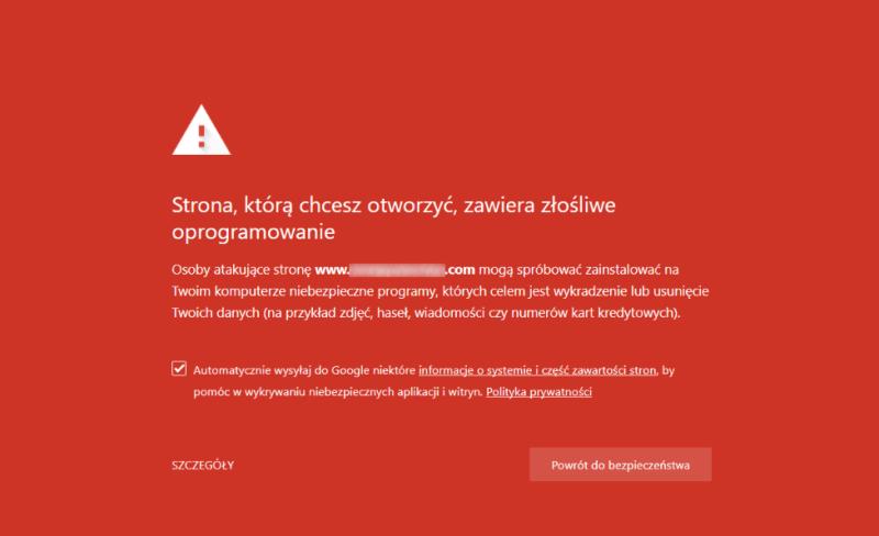 ostrzeżenie złośliwe oprogramowanie